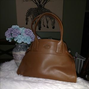 Handbags - Beautiful Pebbled Leather Satchel Purse Warm Brown